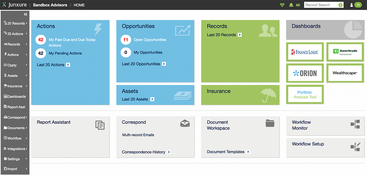 Junxure-CRM-wealth-management-dashboard